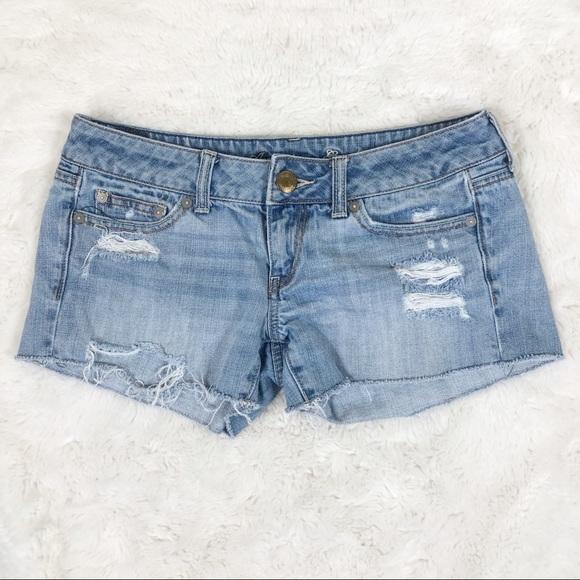 American Eagle Light Wash Distressed Denim Shorts